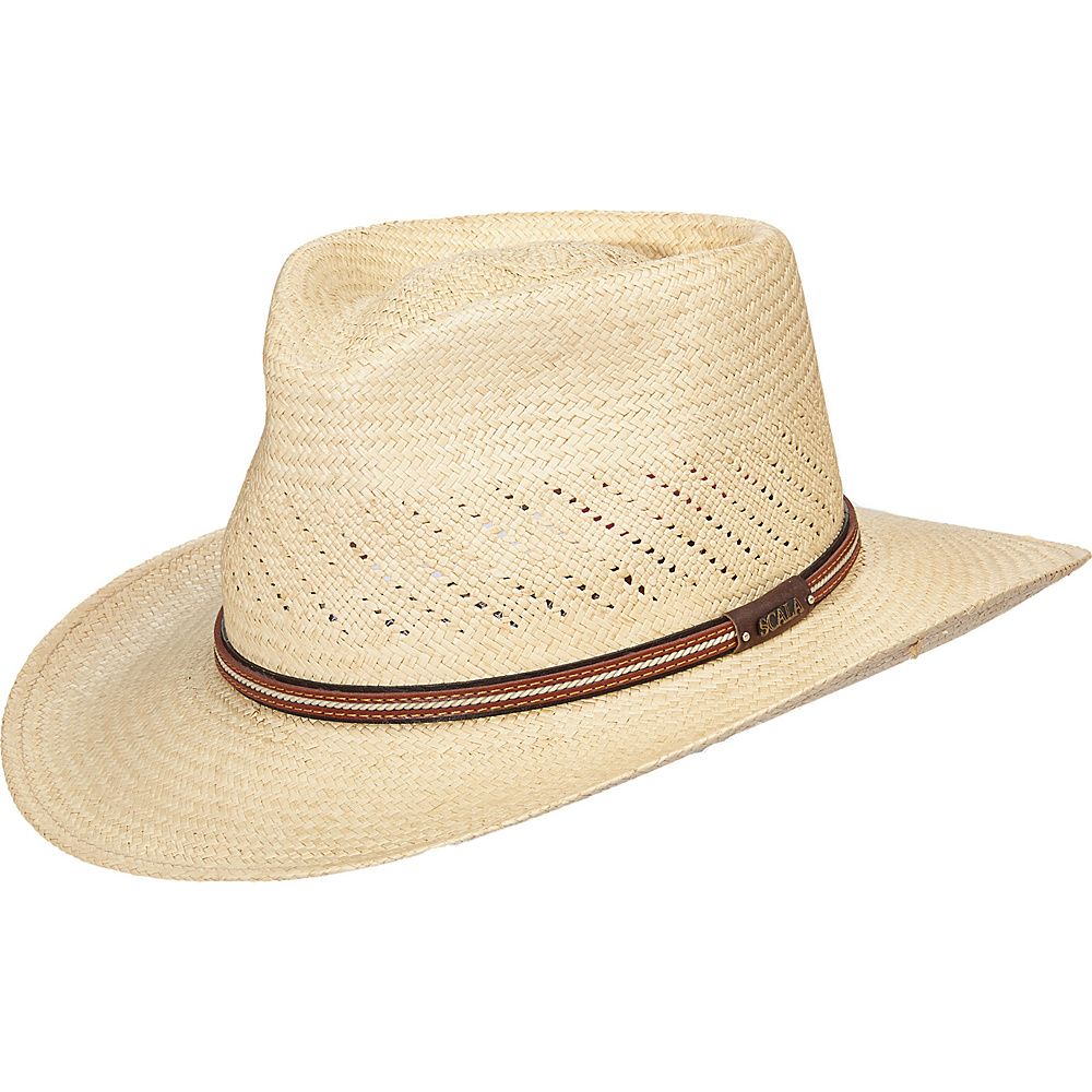 Scala Hats Vent Panama Outback Hat Natural Medium Scala Hats Hats Gloves Scarves