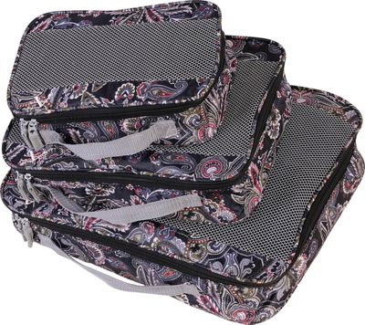American Flyer Paisley 3 Piece Packing Set Black - American Flyer Travel Organizers