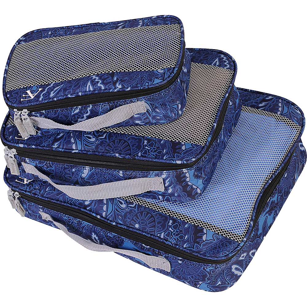American Flyer Paisley 3 Piece Packing Set Blue American Flyer Travel Organizers