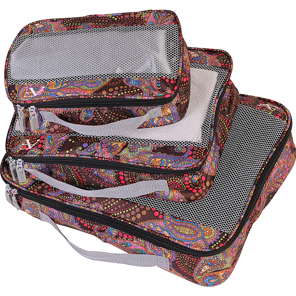 American Flyer Paisley 3 Piece Packing Set MAROON American Flyer Travel Organizers