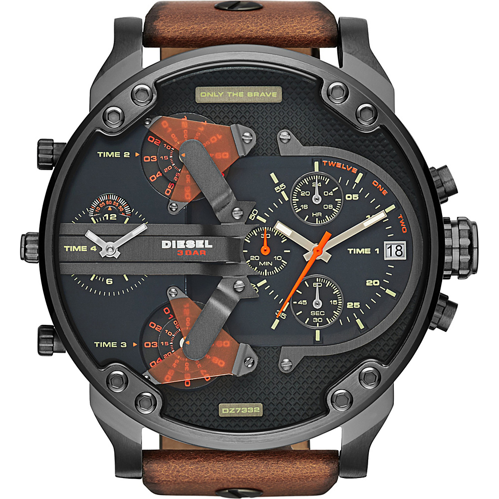 Diesel Watches Mr Daddy 2.0 Leather Watch Brown with Black Dial - Diesel Watches Watches