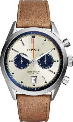 Fossil Del Rey Chronograph Leather Watch Brown/Silver - Fossil Watches