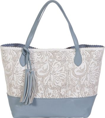 BUCO East/West Bi-color Paisley Tote White/Periwinkle - BUCO Manmade Handbags