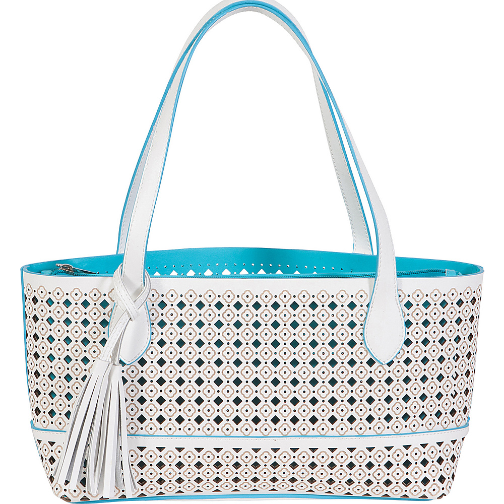 BUCO Small Fiore Tote White with Turquoise - BUCO Leather Handbags