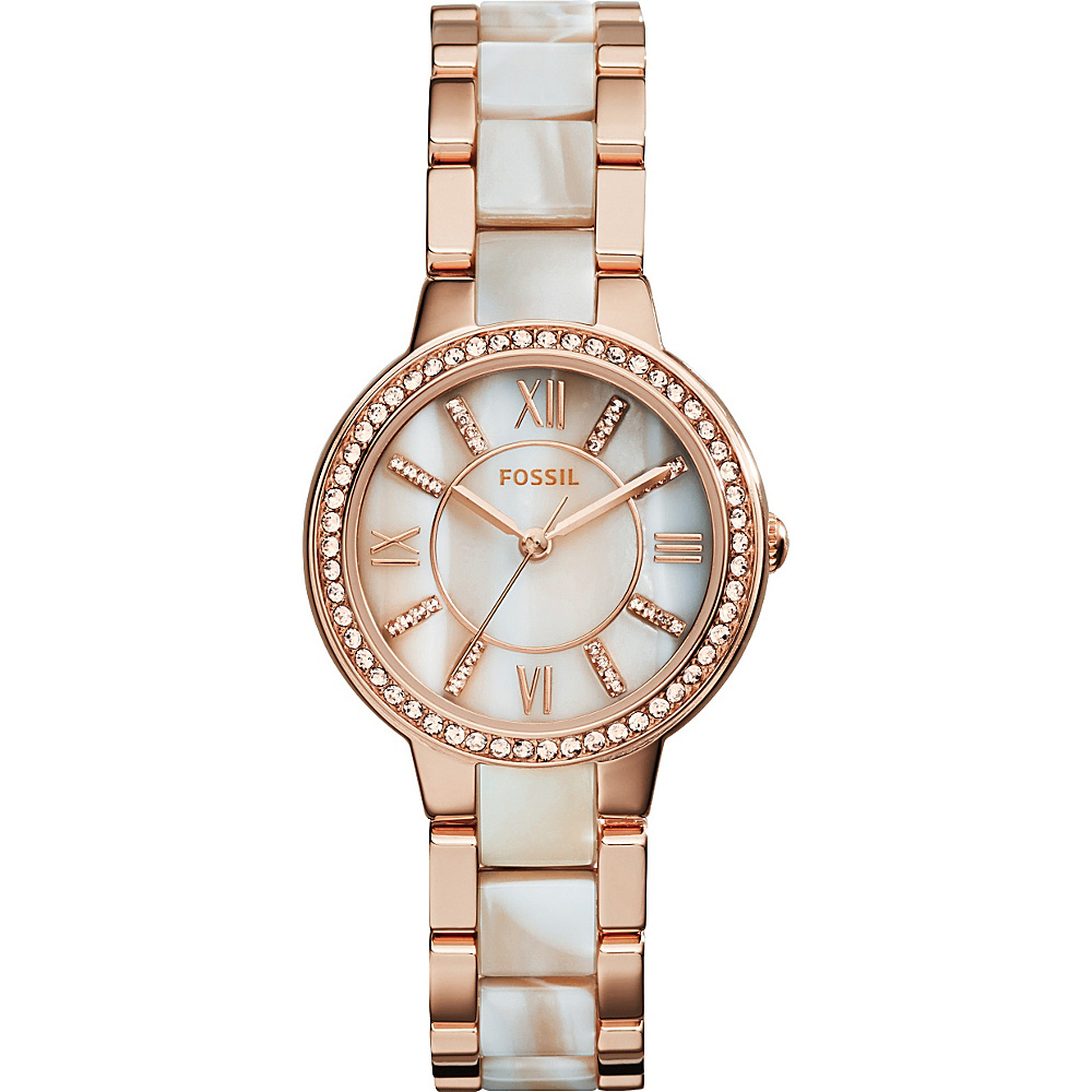 Fossil Virginia Three-Hand Stainless Steel Watch Rose Gold - Fossil Watches - Fashion Accessories, Watches