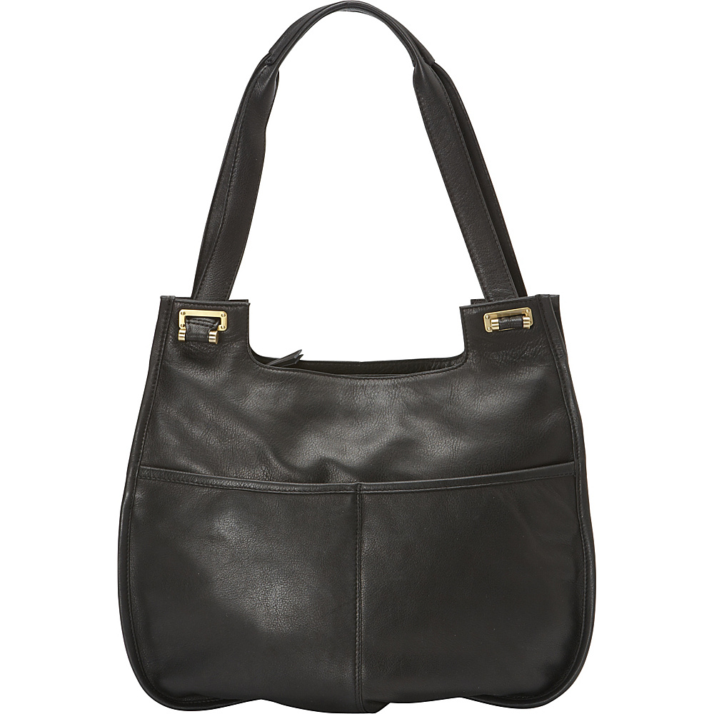 Derek Alexander Large Two Inset Top Zip with Twin Handle Black Derek Alexander Leather Handbags