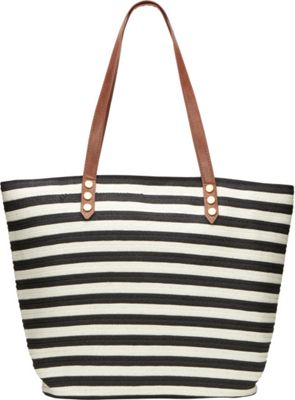 San Diego Hat Stripe Bag With Faux Leather Trim Straps
