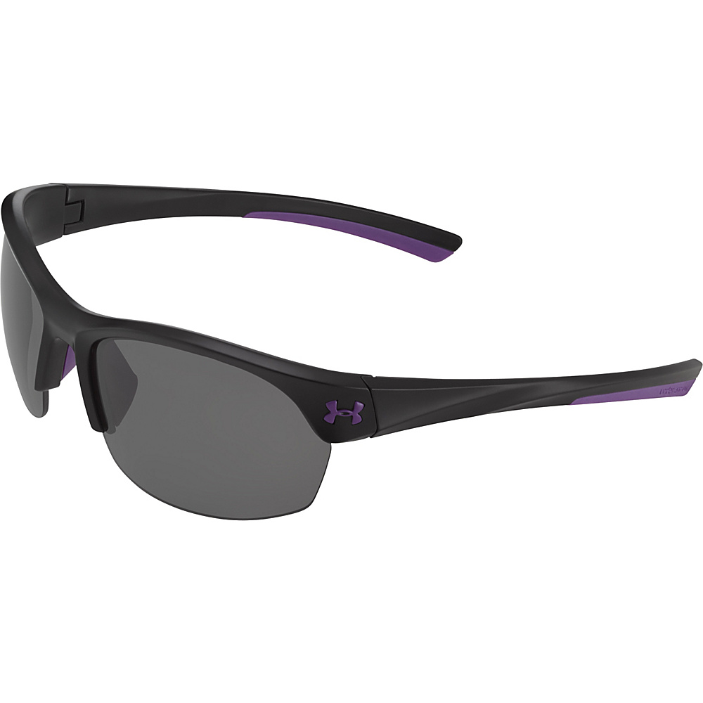 Under Armour Eyewear Marbella Sunglasses Satin Black Violet Accents Gray Multiflection Under Armour Eyewear Sunglasses
