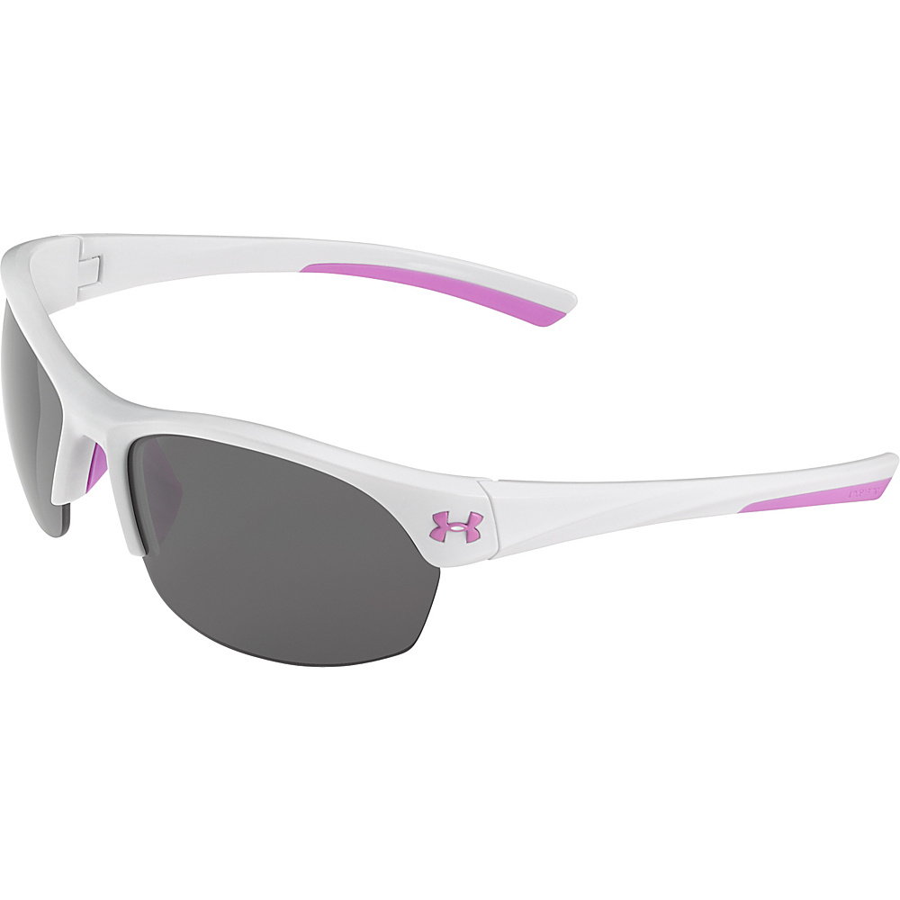 Under Armour Eyewear Marbella Sunglasses Shiny White Pink Sick Gray Multiflection Under Armour Eyewear Sunglasses