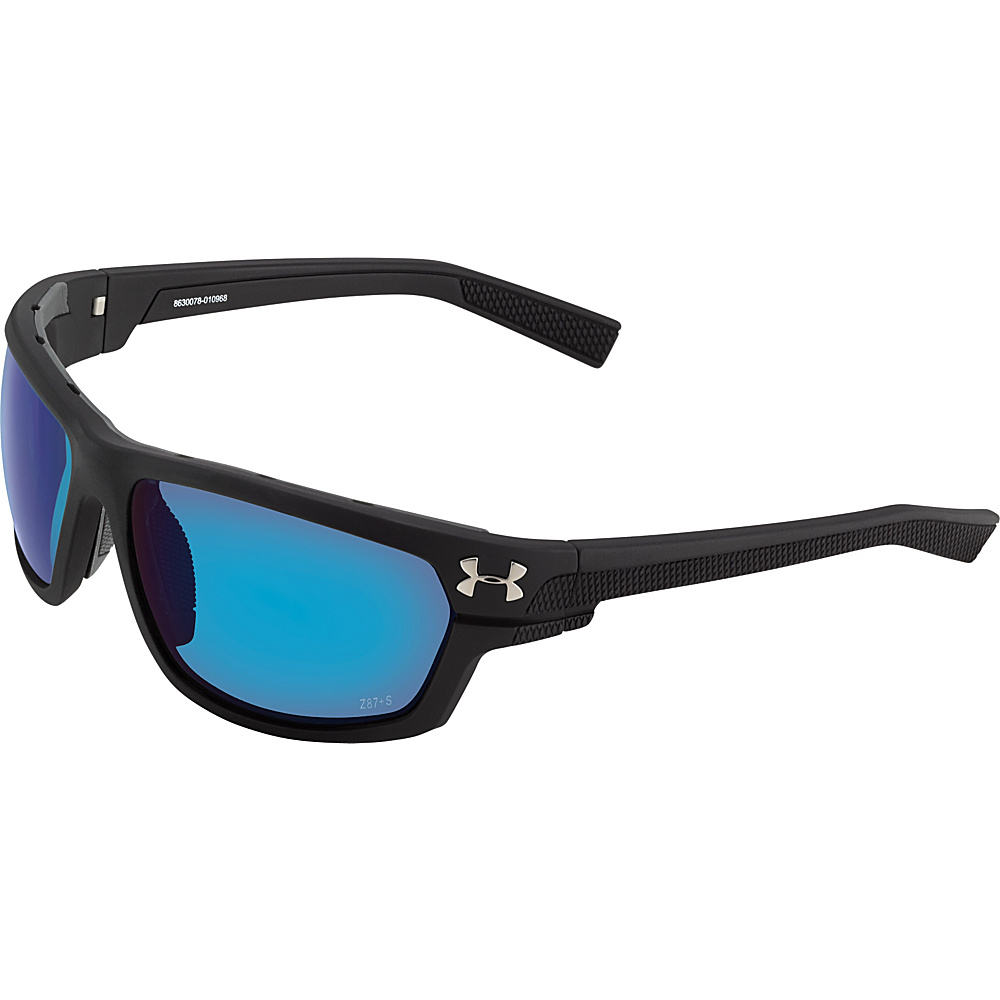 Under Armour Eyewear Hook d Storm Sunglasses Satin Black Gray Storm ANSI Polarized Blue Mirror Under Armour Eyewear Sunglasses