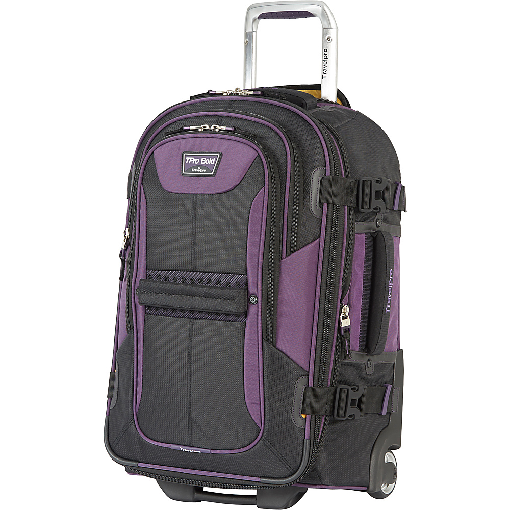 "Travelpro T-Pro Bold 2.0 22"" Expandable Rollaboard Black & Purple - Travelpro Softside Carry-On"