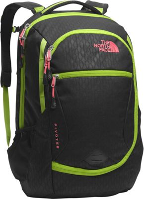 The North Face Women's Pivoter Laptop Backpack TNF Black Emboss/Calypso Coral - The North Face Business & Laptop Backpacks