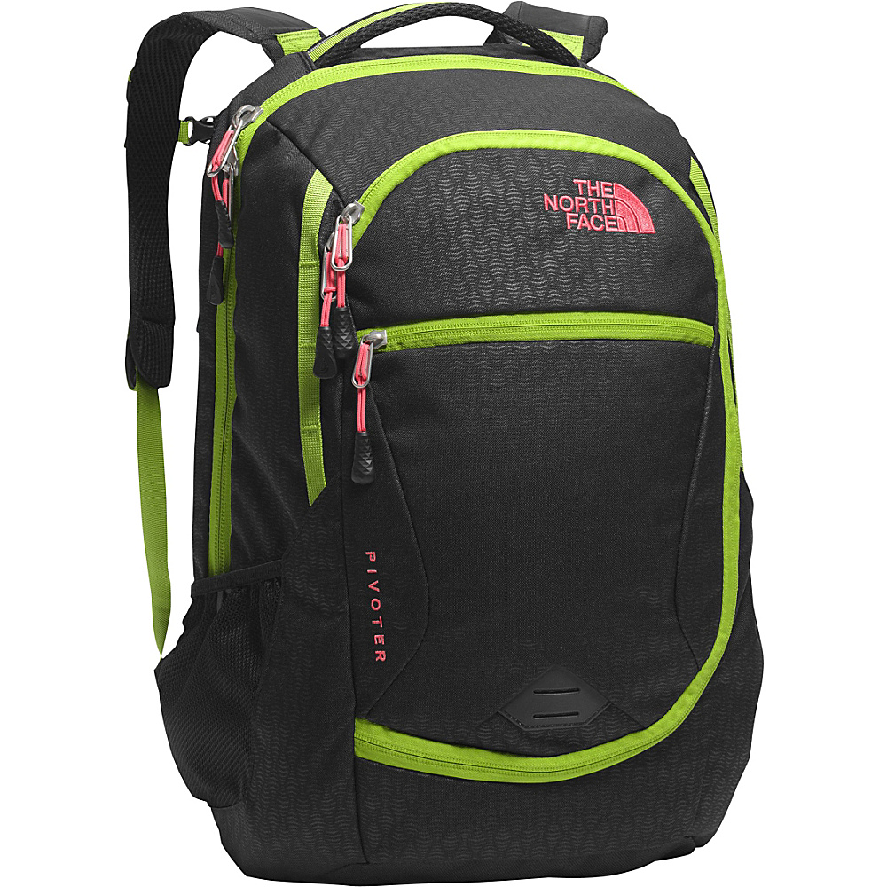 The North Face Women s Pivoter Laptop Backpack TNF Black Emboss Calypso Coral The North Face Business Laptop Backpacks