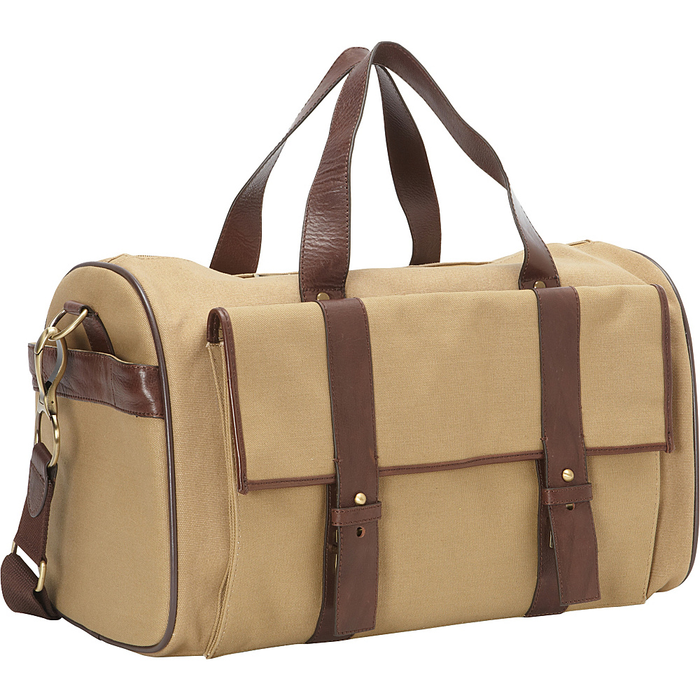 Clava Canvas And Leather Pocket Duffel Khaki Cafe Clava Travel Duffels