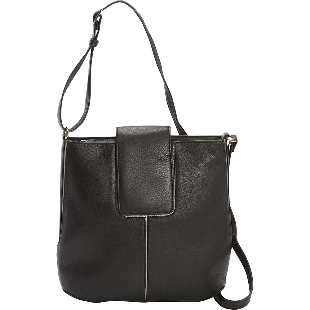 Derek Alexander Slim N/S Top Zip Tap Closure Crossbody Black/Silver - Derek Alexander Leather Handbags - Handbags, Leather Handbags