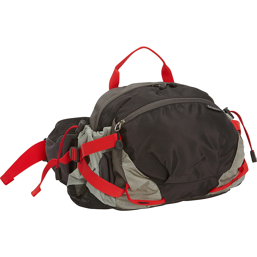 Everest Outdoor Waist Pack with Bottle Holders Black Gray Everest Waist Packs