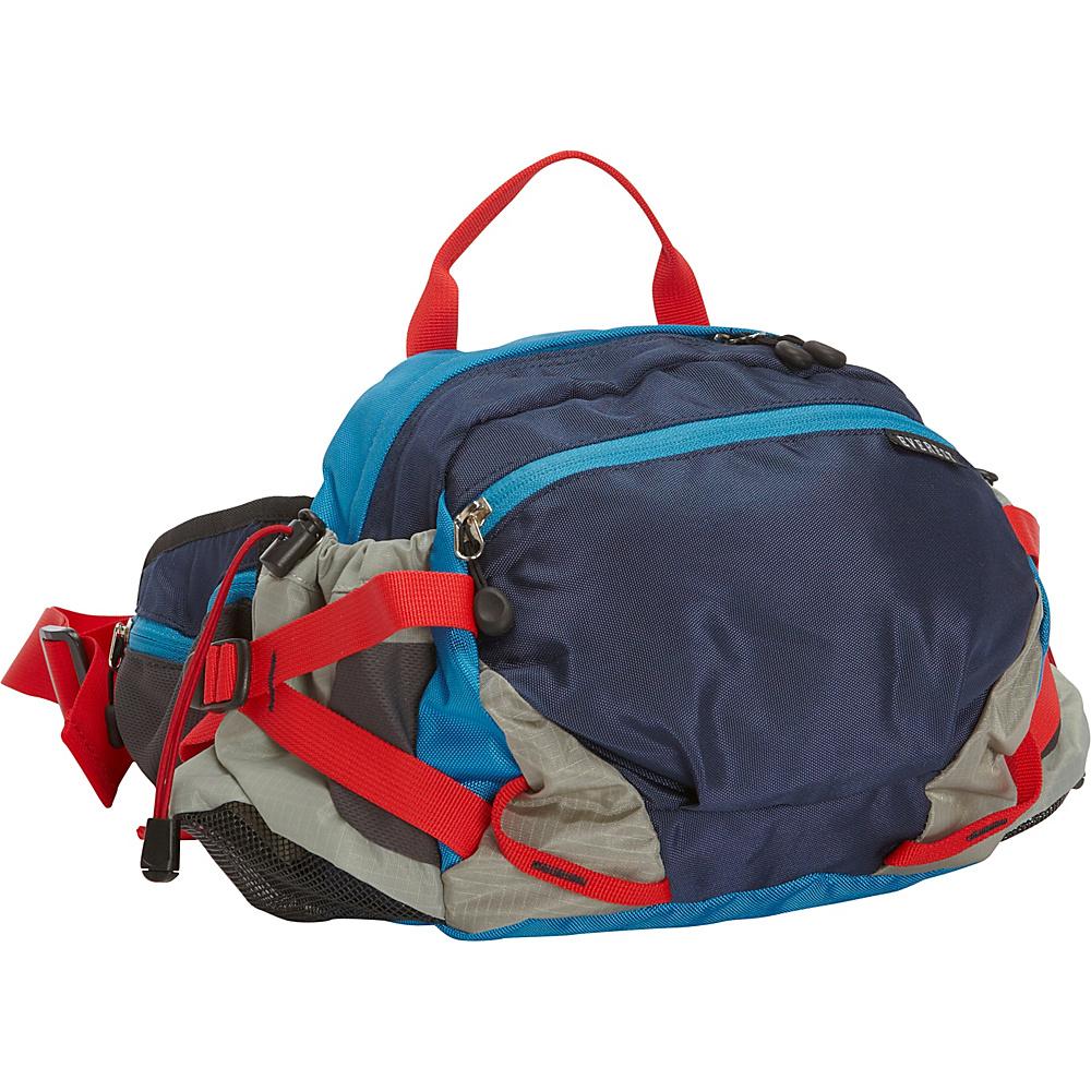 Everest Outdoor Waist Pack with Bottle Holders Navy Blue Gray Everest Waist Packs