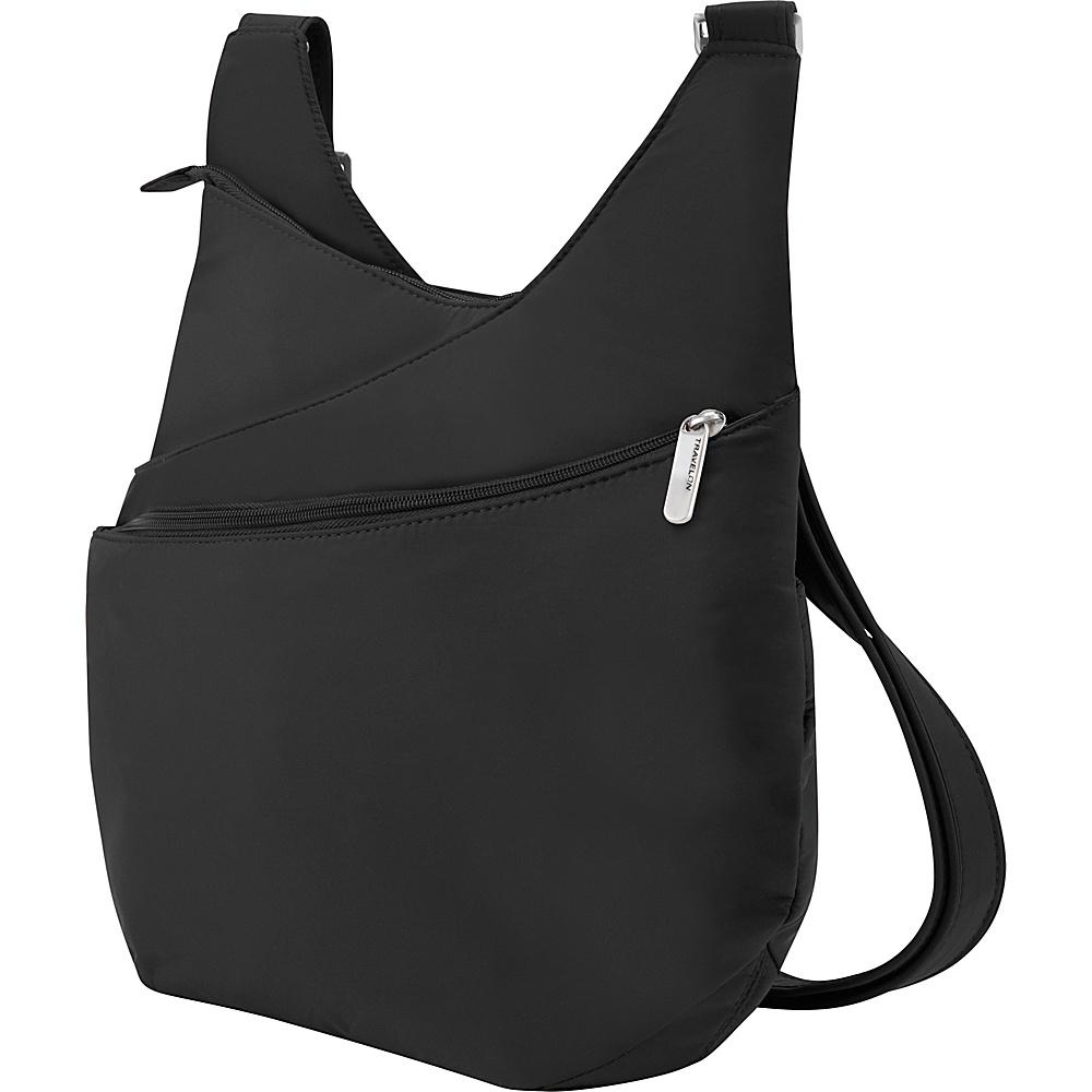 Travelon Anti-Theft Classic Light Drape Front Shoulder Bag Black/Gray - Travelon Fabric Handbags - Handbags, Fabric Handbags