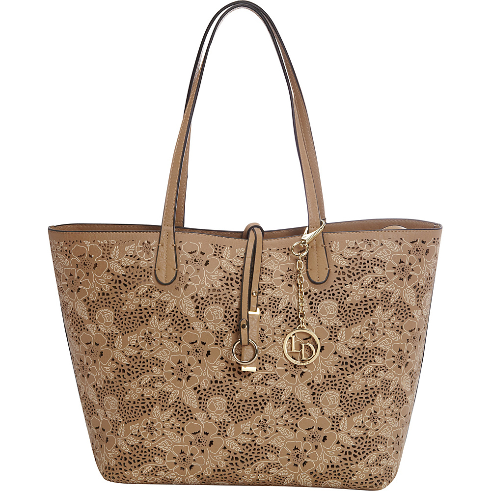 La Diva Floral Perforated Tote Taupe La Diva Manmade Handbags
