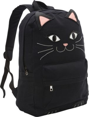 Ashley M Black Kitty Cat Canvas Backpack Black - Ashley M Everyday Backpacks