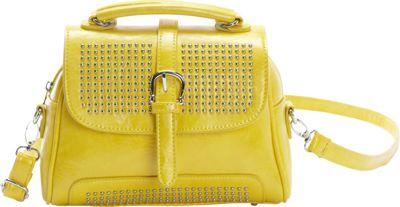 Ashley M Fashion Studded Small Satchel Bag Yellow - Ashley M Manmade Handbags