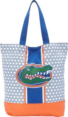 Ashley M University Of Florida Patterned Hexagon Canvas Tote Bag Blue - Ashley M Fabric Handbags
