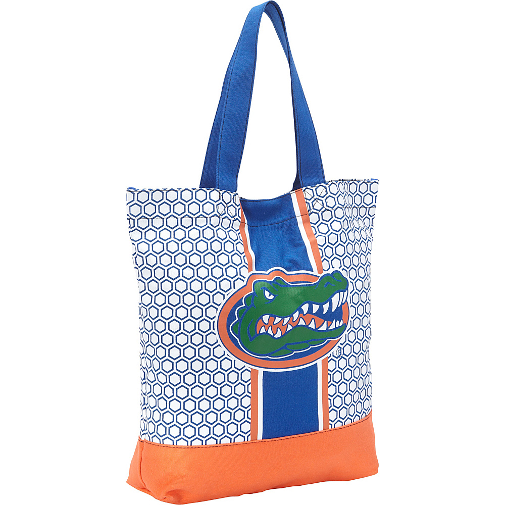 Ashley M University Of Florida Patterned Hexagon Canvas Tote Bag Blue - Ashley M Fabric Handbags