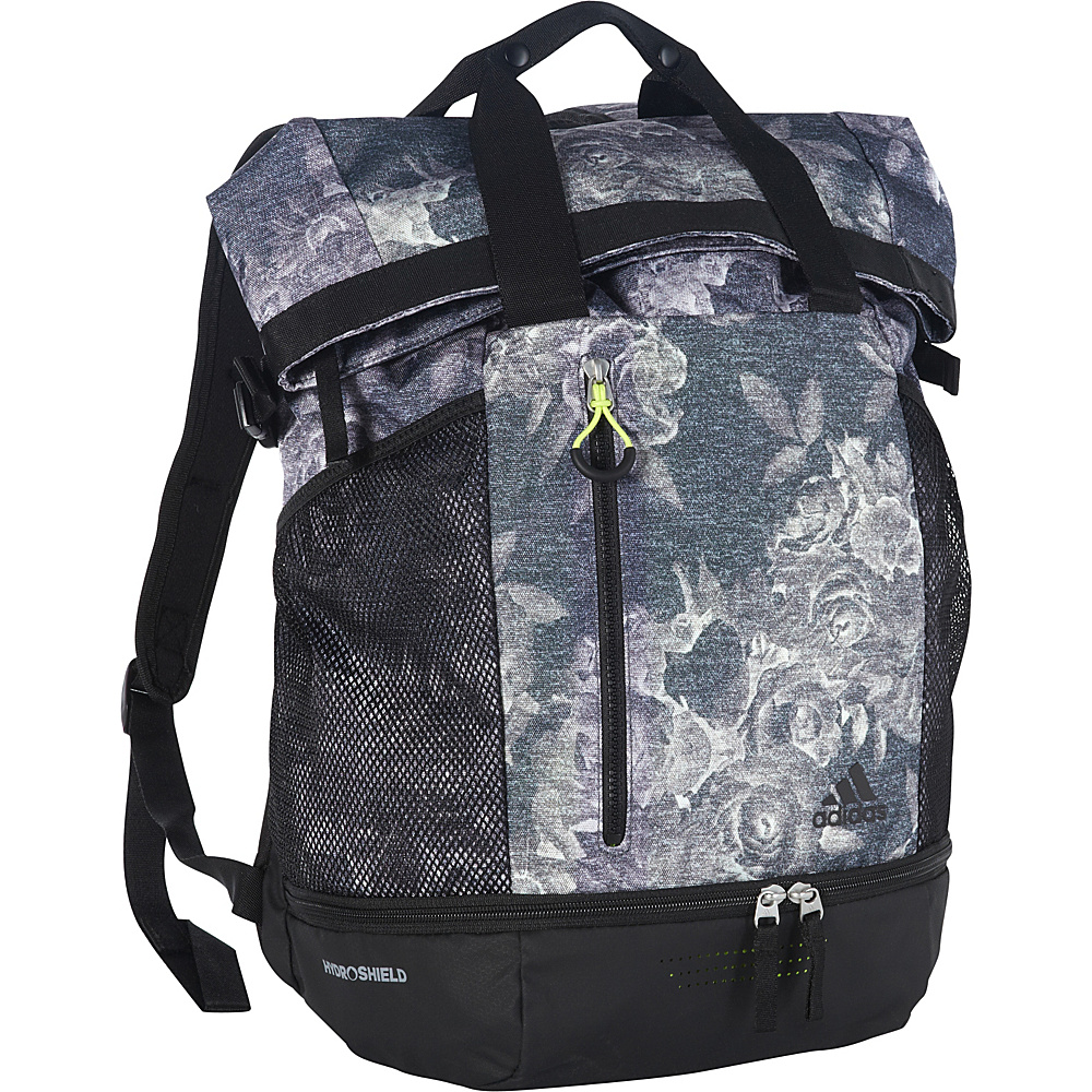 adidas Women's Athletic Backpack Tonal Floral Yola/Black/Solar Yellow - adidas School & Day Hiking Backpacks