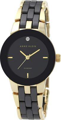 Image of Anne Klein Watches Diamond-Accented Ceramic Bracelet Watch BlackGold - Anne Klein Watches Watches