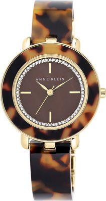 Image of Anne Klein Watches Crystal Dial Gold-Tone And Tortoise Plastic Bangle Bracelet Tortoise - Anne Klein Watches Watches