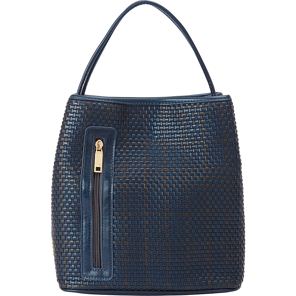 Samoe Classic Convertible Handbag Woven Dark Blue and Bronze Woven Dark Blue Handle Class Samoe Manmade Handbags