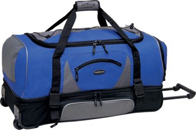 Travelers Club Luggage Adventure 36 inch 2-Section Drop Bottom Rolling Duffel Navy/Black - Travelers Club Luggage Rolling Duffels