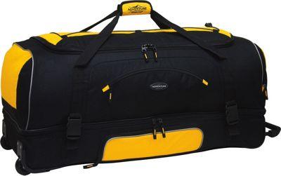 Travelers Club Luggage Adventure 36 inch 2-Section Drop Bottom Rolling Duffel Yellow/Black - Travelers Club Luggage Rolling Duffels