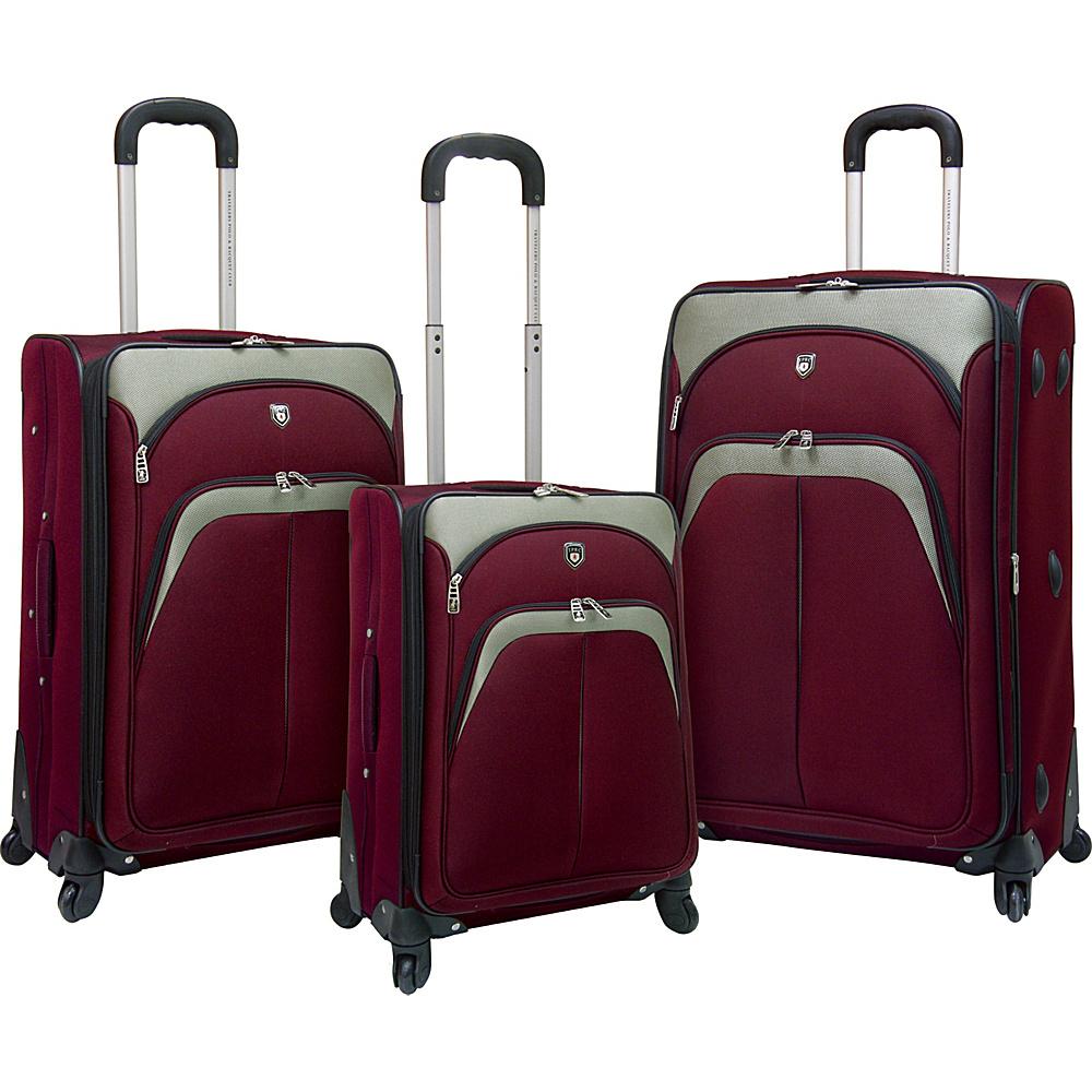 Travelers Club Luggage Lexington 3PC Softside Expandable EVA Spinner Luggage Set Red - Travelers Club Luggage Luggage Sets