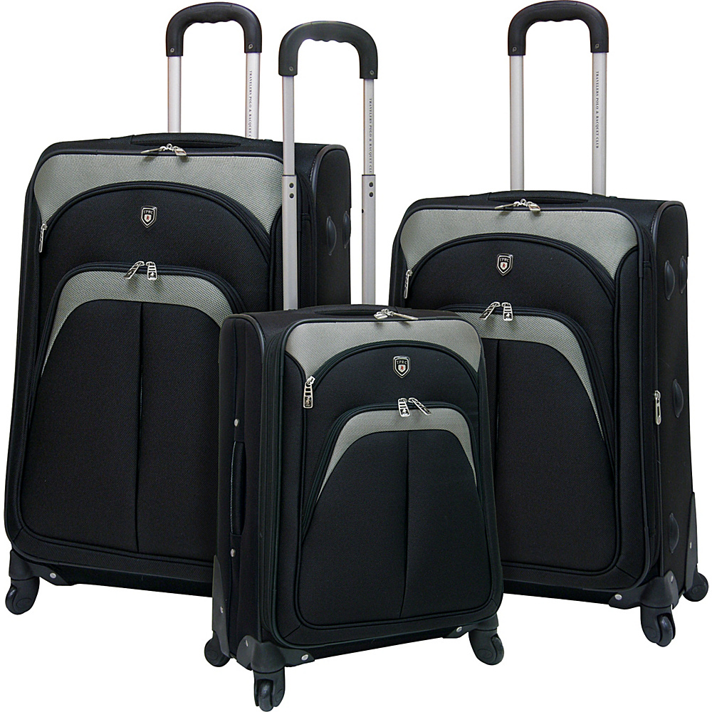 T.P.R.C. Lexington 3PC Softside Expandable Spinner Luggage Set Black - T.P.R.C. Luggage Sets