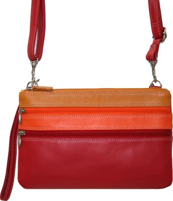 BelArno Crossbody Leather Wristlet Wallet in Multi Color Combination Red Combination - BelArno Women's Wallets