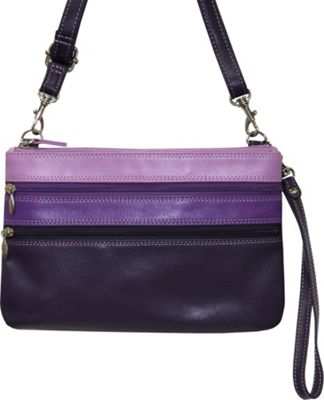 BelArno Crossbody Leather Wristlet Wallet in Multi Color Combination Purple Combination - BelArno Women's Wallets