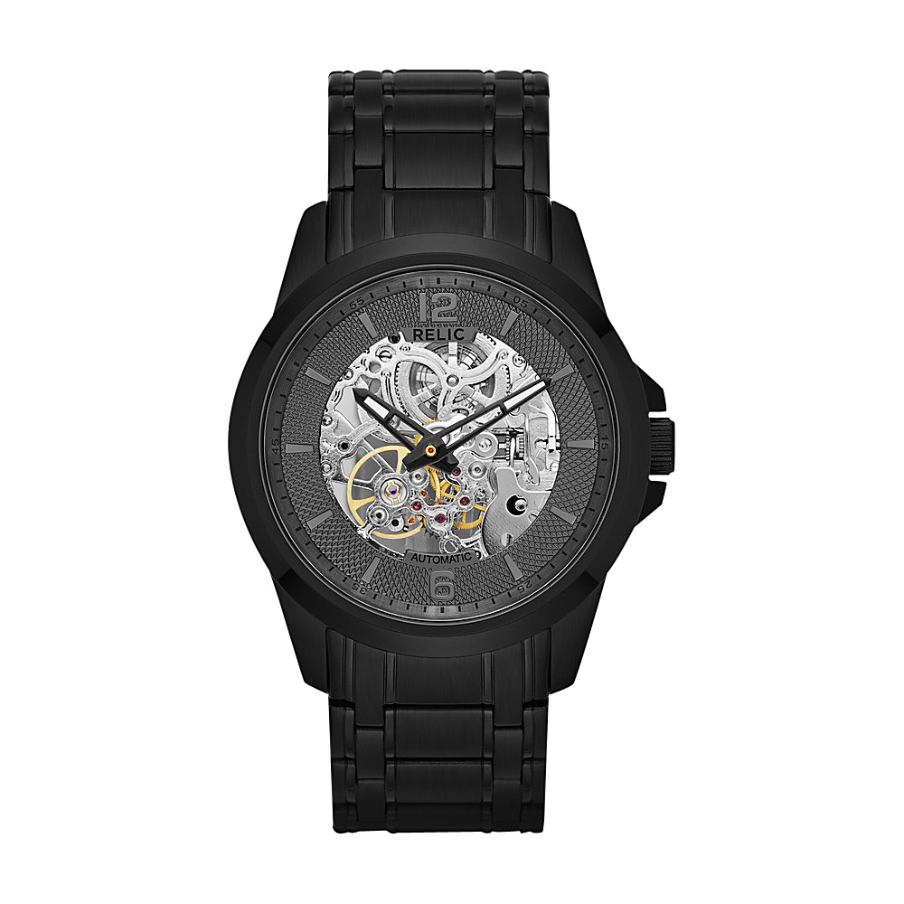 Relic Automatic Skeleton Dial Watch Black Relic Watches