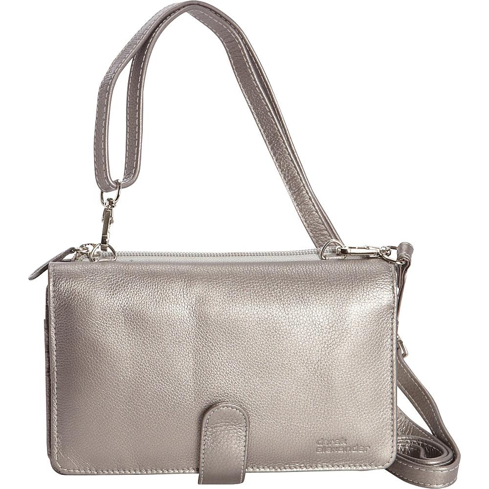 Derek Alexander Front Flap Organizer Crossbody Silver - Derek Alexander Leather Handbags - Handbags, Leather Handbags