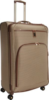 London Fog Cambridge 29 inch Expandable Spinner Olive Plaid Houndstooth - London Fog Softside Checked