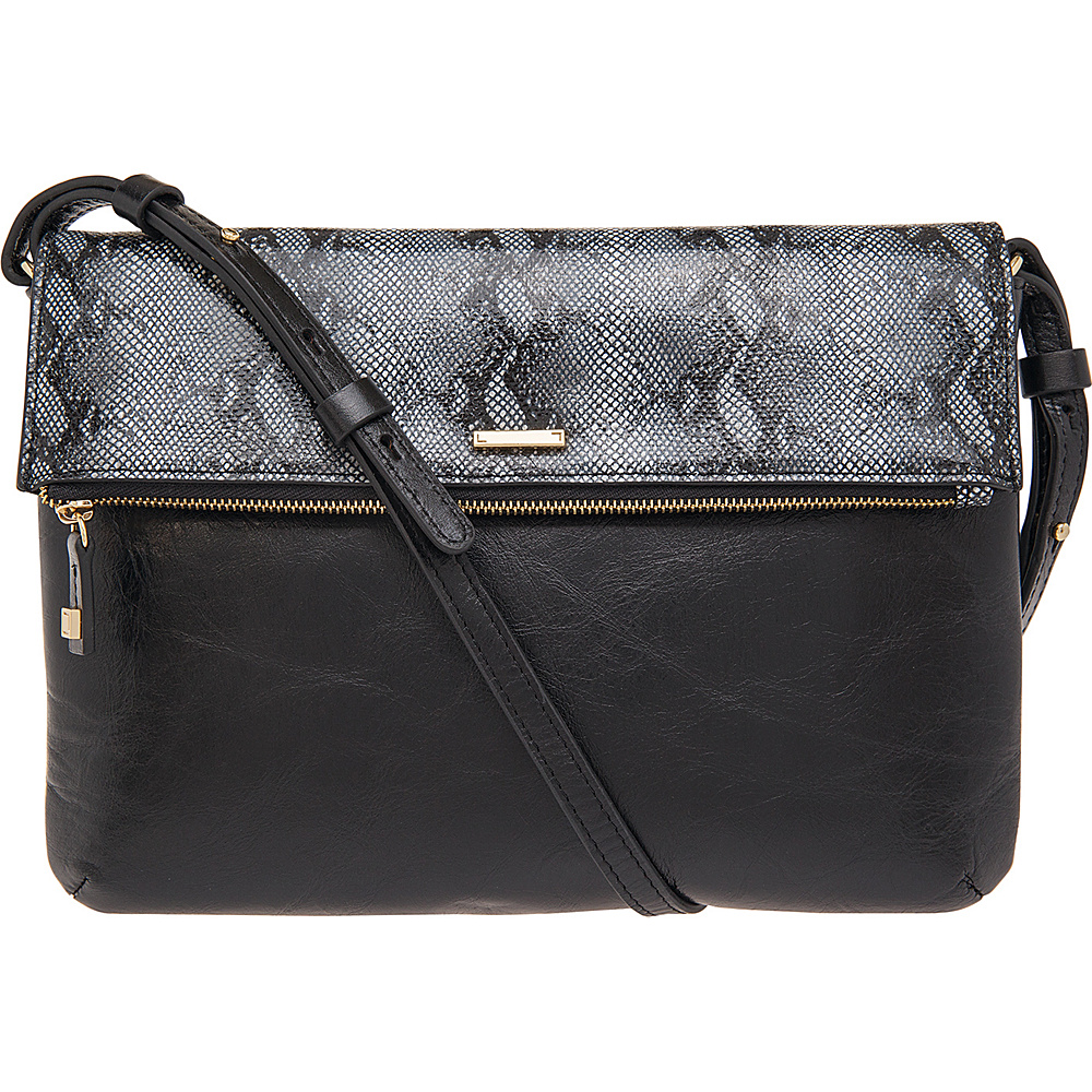 Lodis Vanessa Snake Valerie Convertible Crossbody Black Lodis Leather Handbags