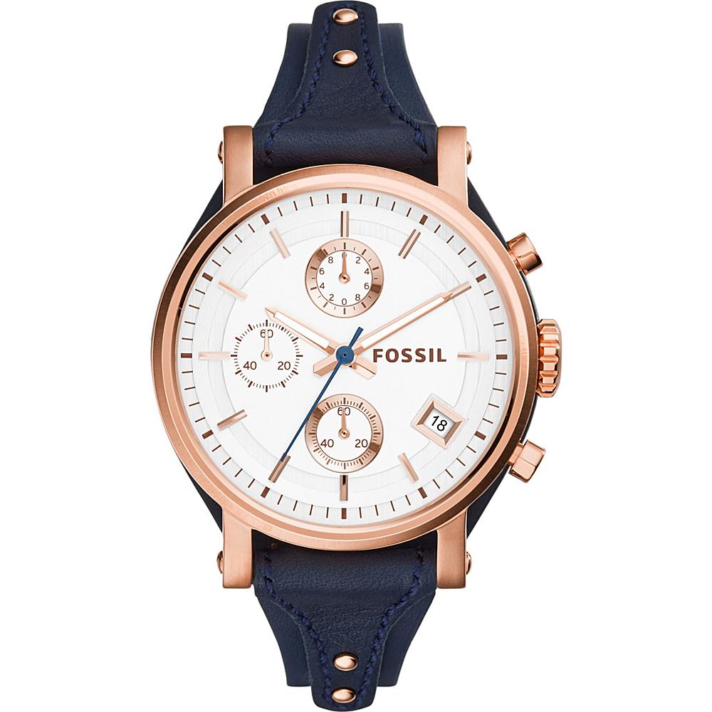 Fossil Original Boyfriend Chronograph Leather Watch Blue - Fossil Watches - Fashion Accessories, Watches