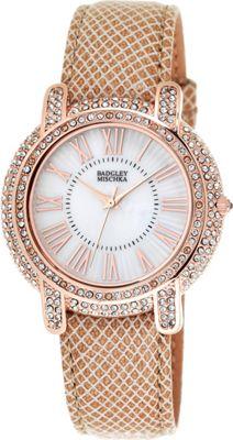 Image of Badgley Mischka Watches Round Crystal Watch Khaki - Badgley Mischka Watches Watches