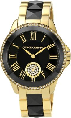 Vince Camuto Watches Crystal Accented Ceramic & Stainless Steel Bracelet Watch Black & Gold/Black & Gold - Vince Camuto Watches Watches