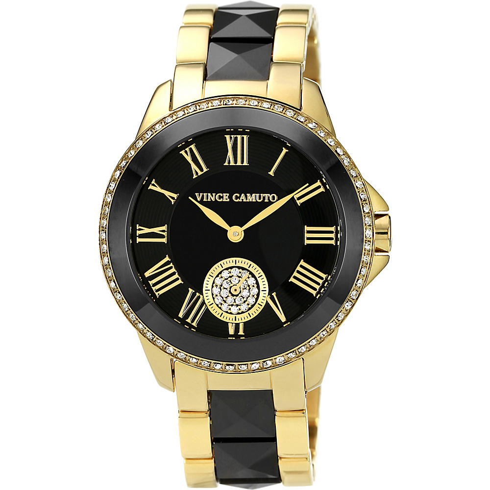 Vince Camuto Watches Crystal Accented Ceramic & Stainless Steel Bracelet Watch Black & Gold/black & Gold Vince Camuto Watches Watches