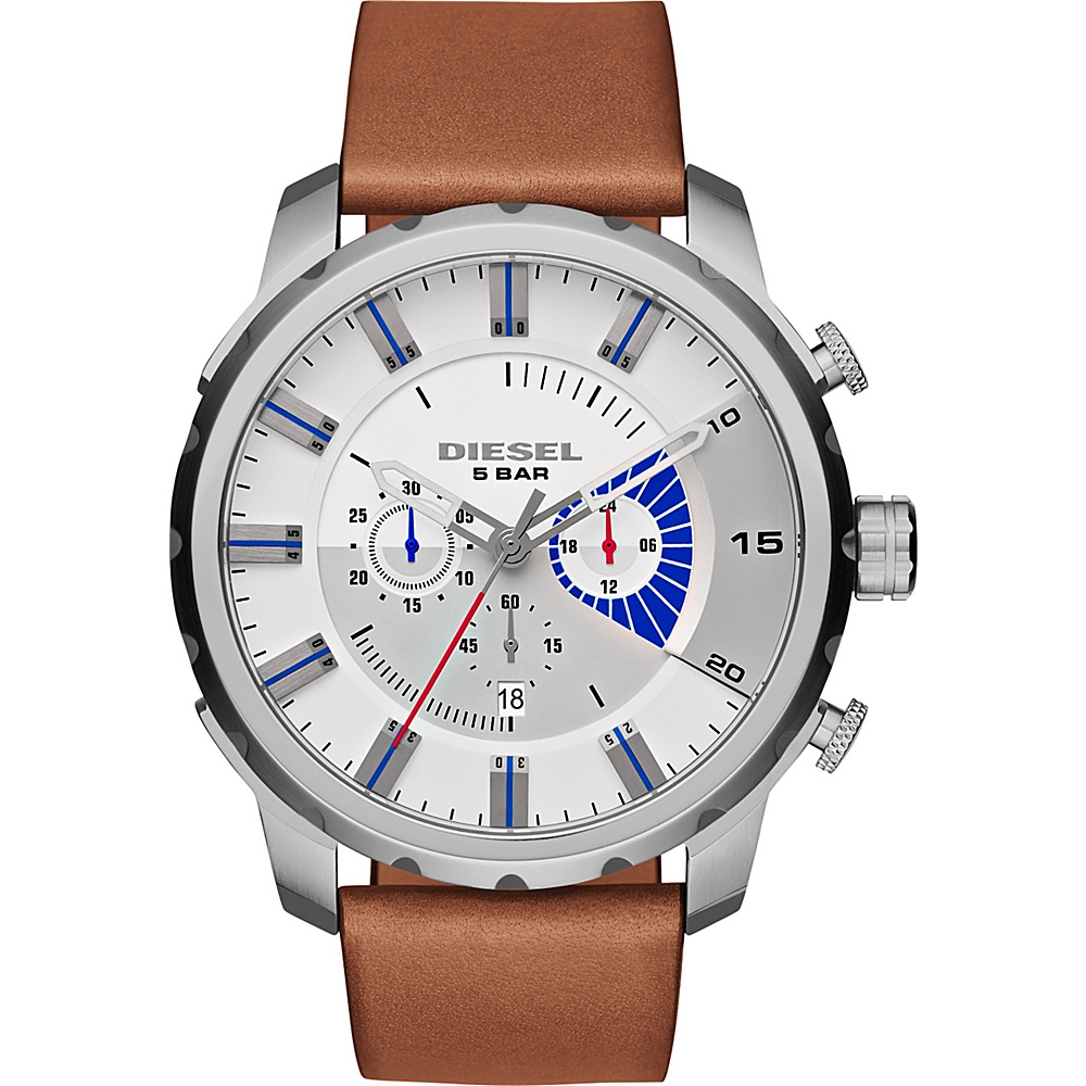 Diesel Watches Stronghold Chronograph Leather Watch Saddle/Silver - Diesel Watches Watches