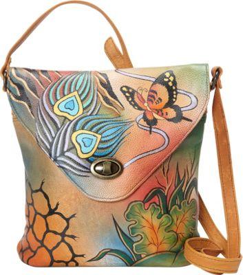 ANNA by Anuschka V Shape Flag Bag Peacock Collage - ANNA by Anuschka Leather Handbags