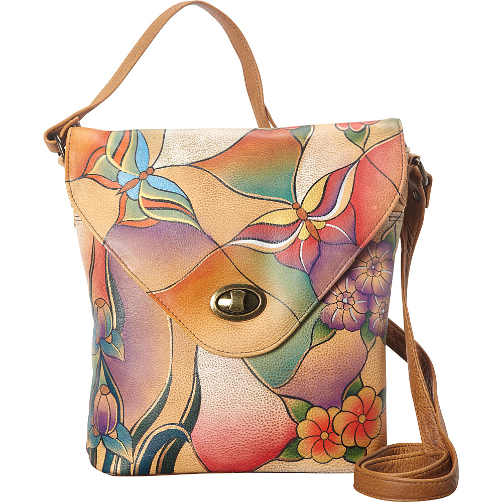 ANNA by Anuschka V Shape Flag Bag Butterfly Glass Painting ANNA by Anuschka Leather Handbags