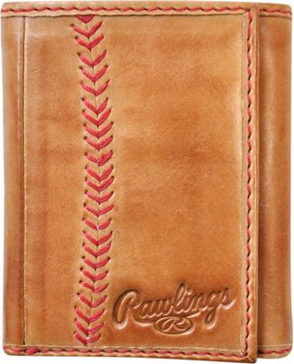 Rawlings Baseball Stitch Tri-Fold Wallet Tan - Rawlings Men's Wallets
