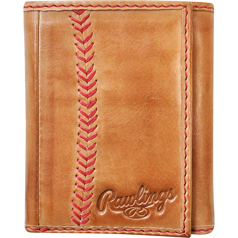 Rawlings Baseball Stitch Tri Fold Wallet Tan Rawlings Men s Wallets